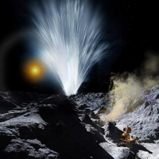 Ice Plumes on Enceladus, by Ron Miller, used by permission: Ice Plumes on Enceladus