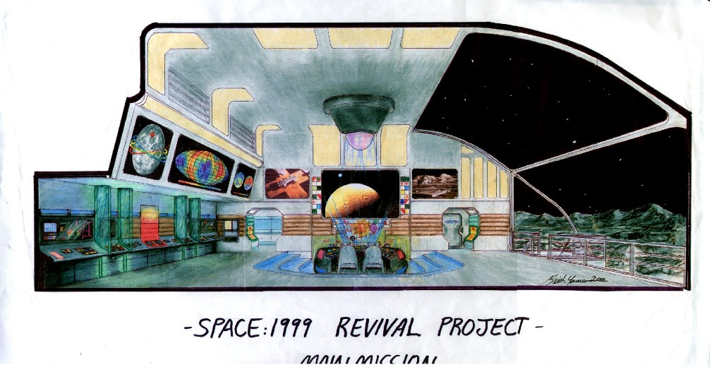 Main Mission from proposed Space:1999 Revival, drawing by Keith Young