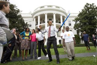 Obama with lightsaber